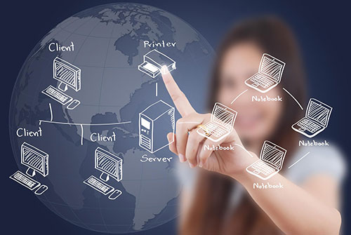 Woman touching devices diagram