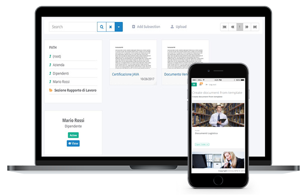 Omnia Document Management interface in devices