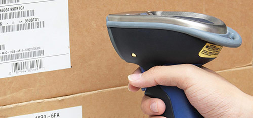 Barcode scanner in action